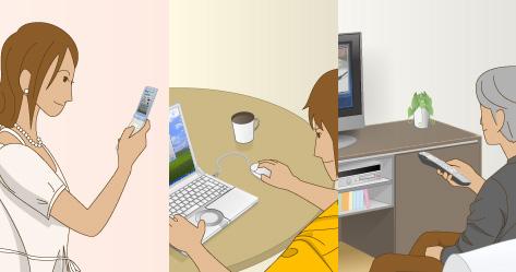 電子機器を使用しているイメージ